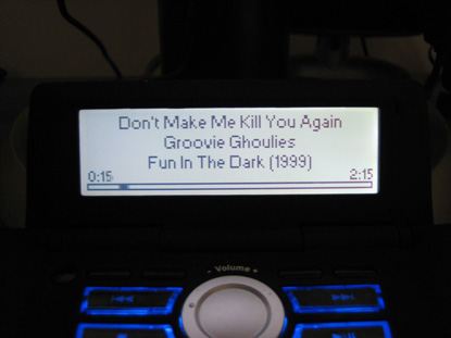 The song playing display.