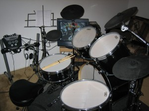 Acoustic kit after converting the drums to electric.