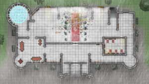 Cathedral of Helm - Level 1 - Rainy Day with Broken Glass and Magic Ward