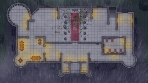 Cathedral of Helm - Level 1 - Rainy Night with Broken Glass