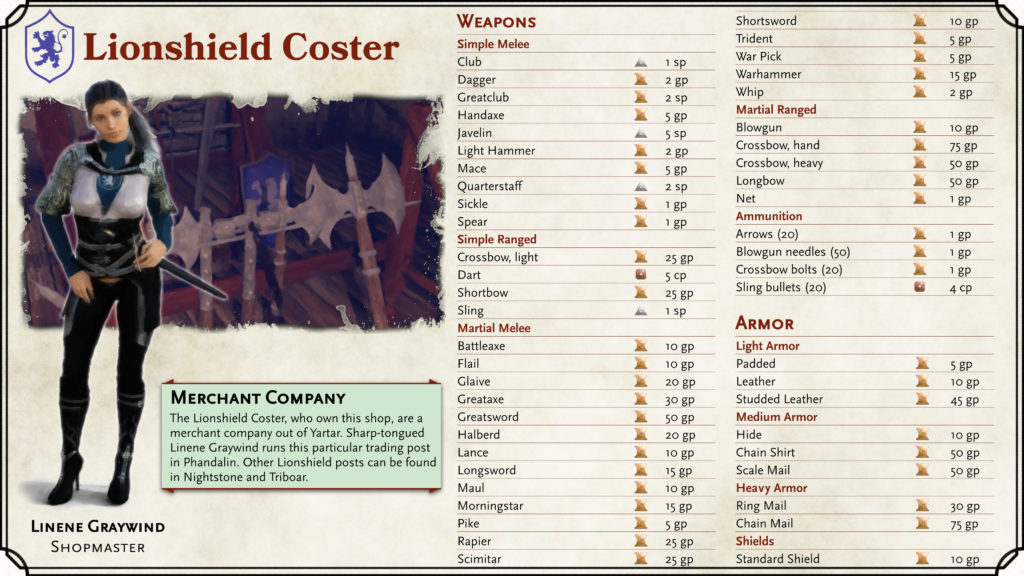 Lionshield Coster Shop Card