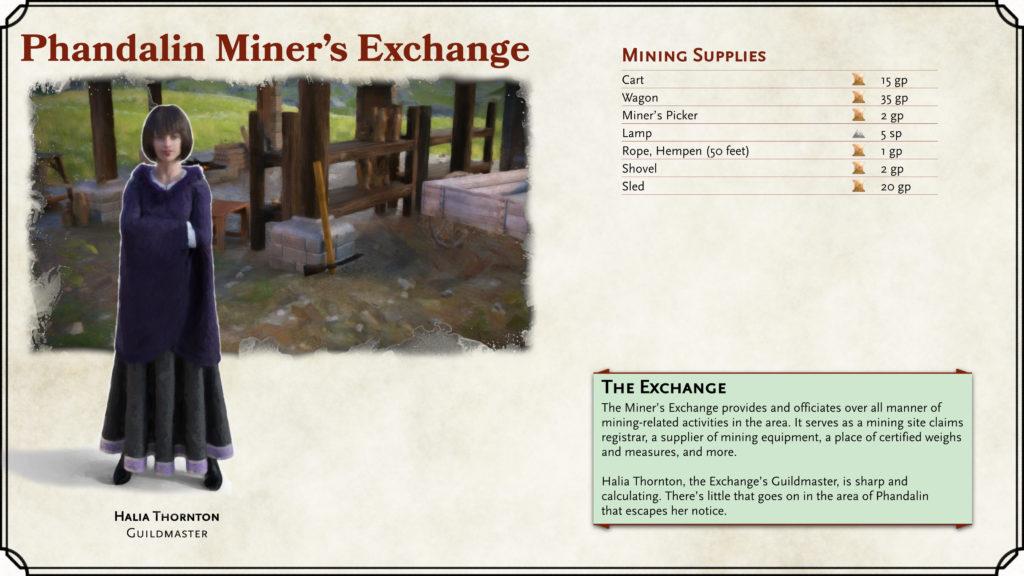 Phandalin Miner's Exchange Shop Card